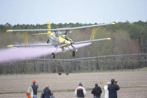 An aerial applicator does a crowd fly-by at the Operation S.A.F.E. event held in Delmarva.