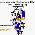 The known distribution of Palmer amaranth in Illinois based on 2012–2013 surveys by university weed scientists.
