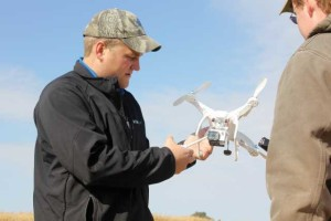 A West Central Coop agronomist shows off the company's UAV.