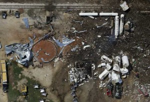 Aerial view of the West Fertilizer explosion site