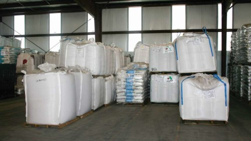 Seed bags in warehouse