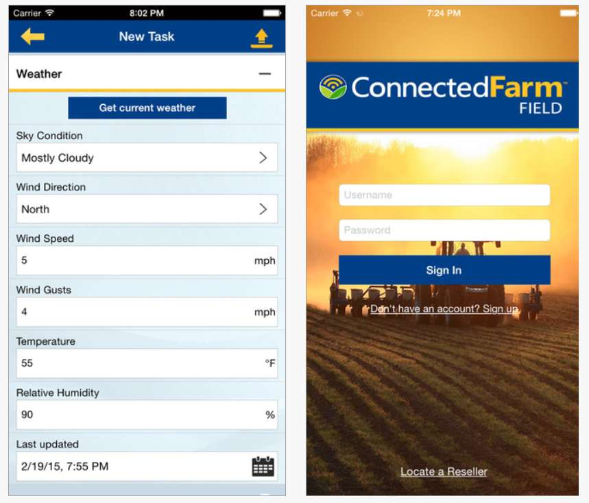 Connected Farm Field app