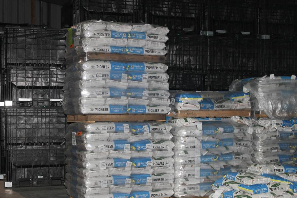 Bags Pioneer soybean seeds Asmus Farm Supply
