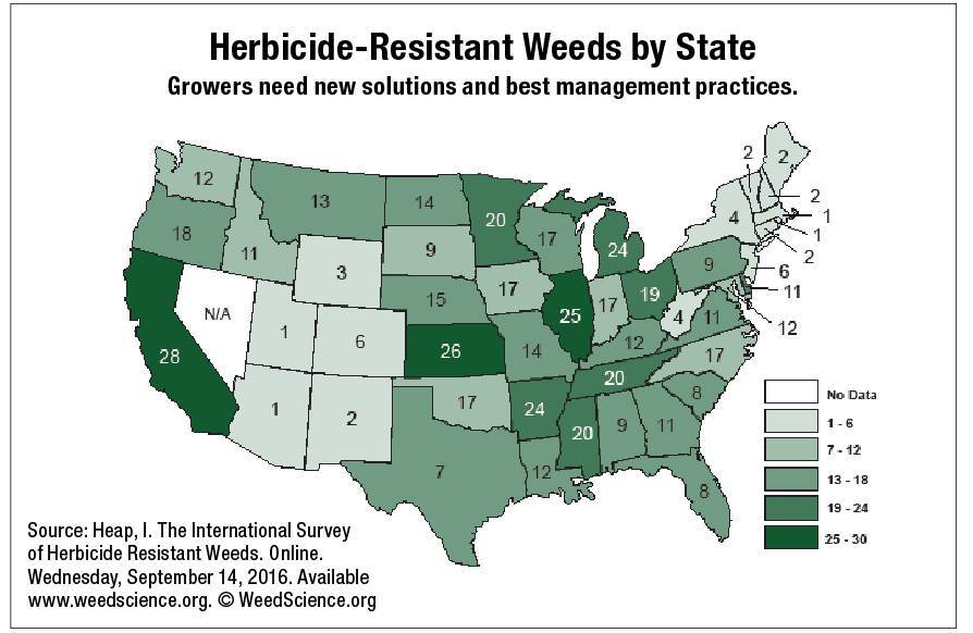 Herbicide-Resistance by State Map