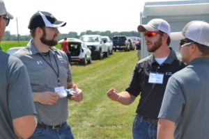 West Central's Steve Carlsen (left) and Jared Fender, a Field Technician with the University of Illinois Department of Crop Sciences, recap the day's events at the June 26 LIFT Media Summit at the school's Crop Physiology Lab in Champaign.