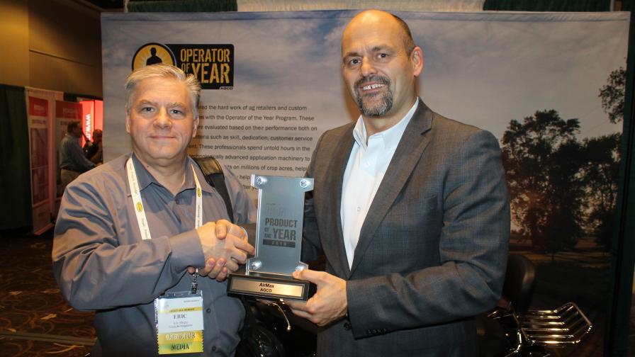 CropLife IRON Editor Eric Sfiligoj (left) presents the 2019 Product of the Year Award to AGCO's David Webster.