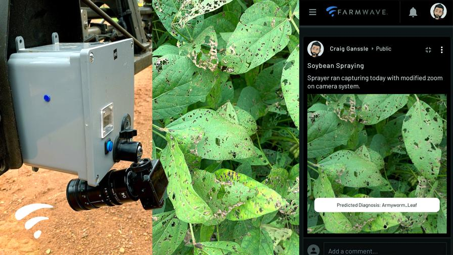 Farmwave's on-the-go crop damage recognition system on soybeans.