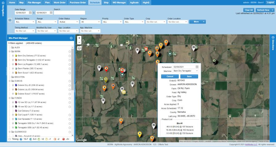 AgWorks latest release allows customers to place a delivery order to their retailer and request a specific drop of location and date all from their phone.