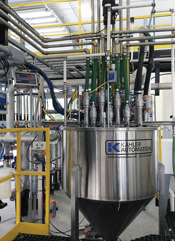 A weigh tank system by Kahler Automation excel at dispensing a large number of products precisely for small to medium inclusion rates in blends.